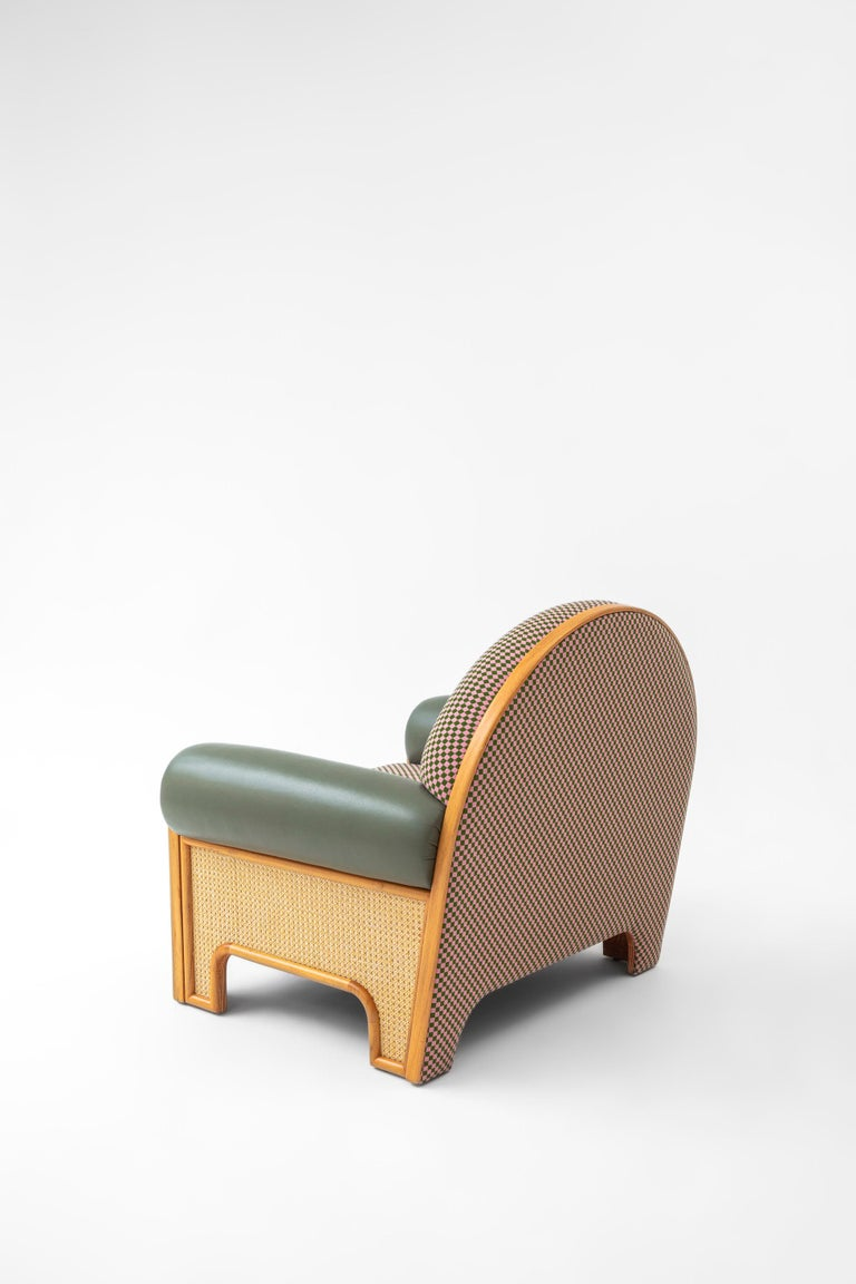 Turkish N-Gene Armchair with Green Checker Fabric and Purple Leather For Sale