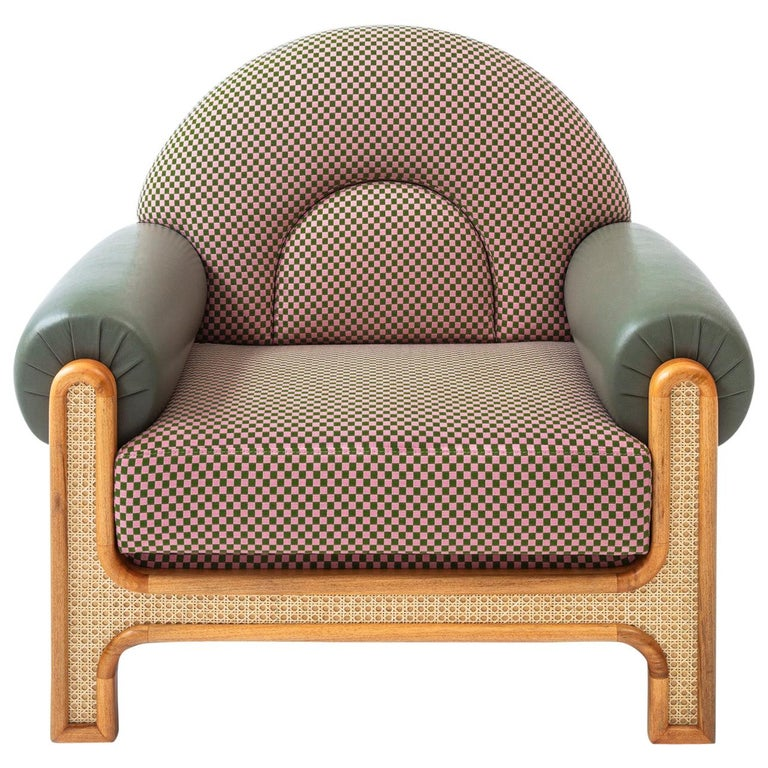 N-Gene Armchair with Green Checker Fabric and Purple Leather In New Condition For Sale In Istanbul, TR