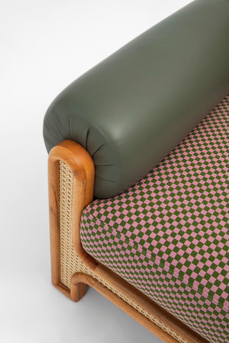 Contemporary N-Gene Armchair with Green Checker Fabric and Purple Leather For Sale