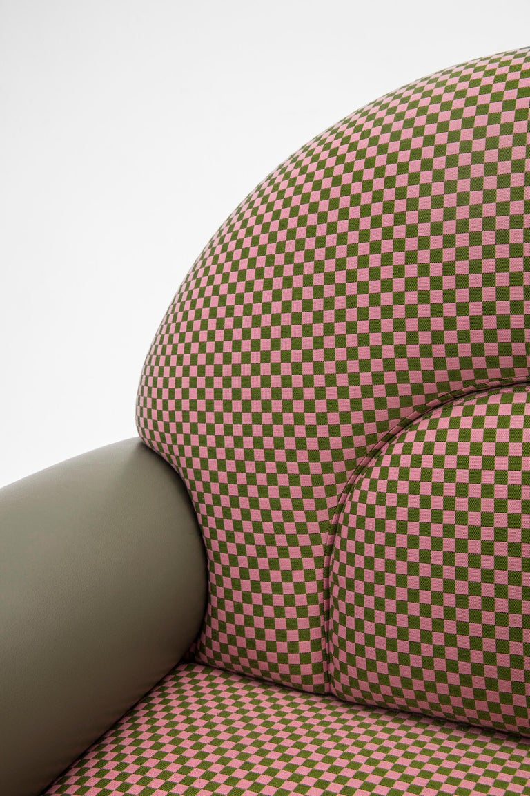 Cane N-Gene Armchair with Green Checker Fabric and Purple Leather For Sale
