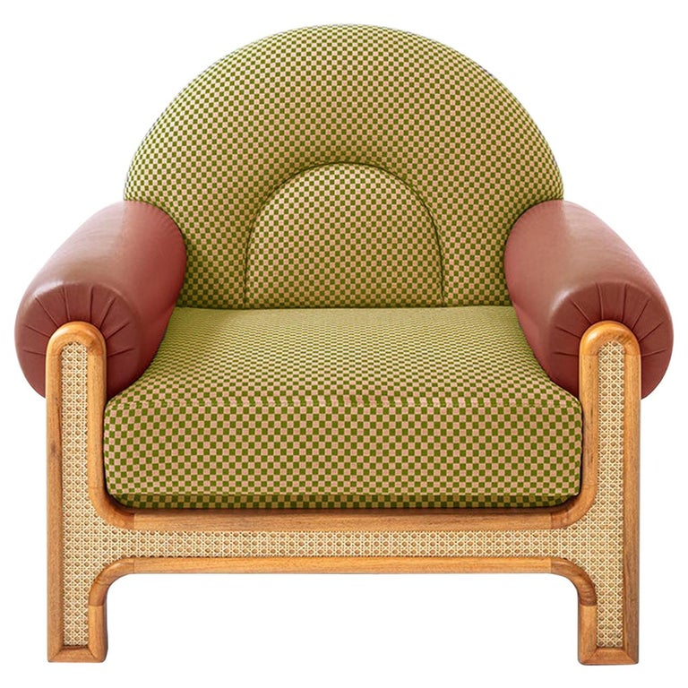 N-Gene Armchair with Green Checker Fabric and Purple Leather For Sale
