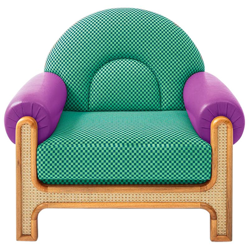 N-Gene Armchair with Green Checker Fabric and Purple Leather