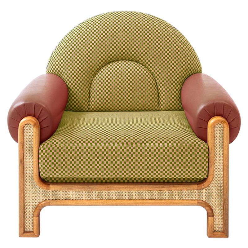 N-Gene Armchair with Yellow Checker Fabric and Red Leather