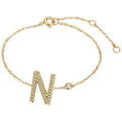 N Initial Bezel Chain Bracelet