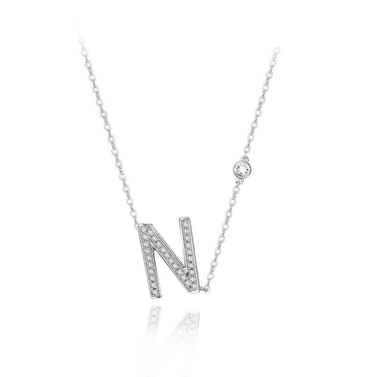 Modern N Initial Bezel Chain Necklace For Sale
