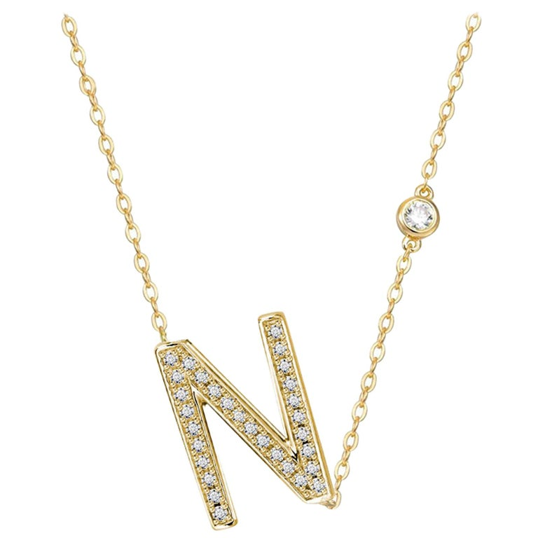 N Initial Bezel Chain Necklace For Sale