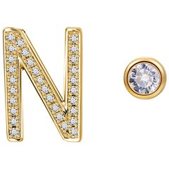 N Initial Bezel Mismatched Earrings