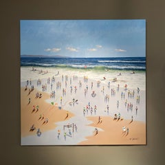 'Sparkling seas' Contemporary 3D beach Landscape painting with figures, waves