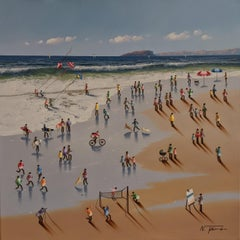 'Soaking up the Sunshine' Contemporary Colourful Figurative, beach, water, sand
