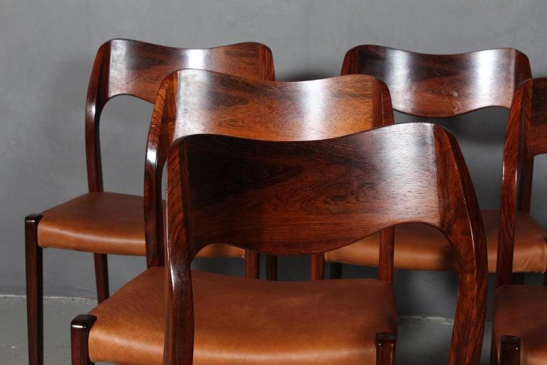 Scandinavian Modern N. O. Møller Set of Six Dining Chairs