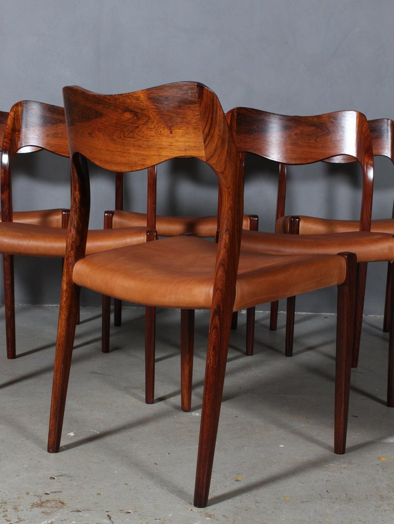 N. O. Møller Set of Six Dining Chairs In Excellent Condition In Esbjerg, DK