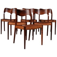 N. O. Møller Set of Six Dining Chairs