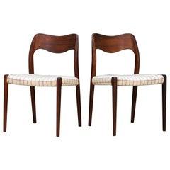 N. O. Moller Chairs Rosewood Danish Design