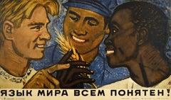 Original Vintage Soviet Poster Language Of Peace World Friendship Unity USSR