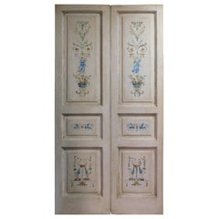 N.2 Antique Double Doors, White Painted with Allegories, Late 18th Century Italy