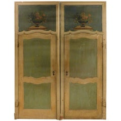 N.2 Antique Lacquered Doors Painted, Yellow, Green and Blue, 18th Century, Italy