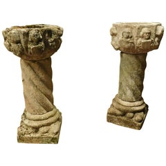 n.2  Antiques Couple Grey Stone Vases Carved Faces and Torch Column, '600 Italy