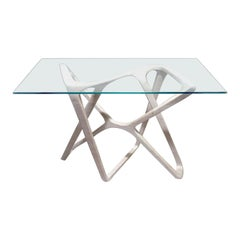 N2 Desk, Handcrafted in Solid Wood with Clear Glass Top