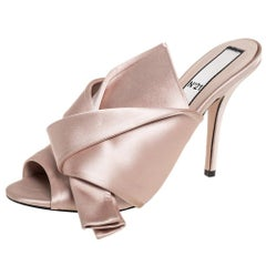 N21 Beige Satin Raso Knot Mule Sandals Size 39.5