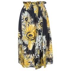 N21 Black and Yellow Sunflower Printed Silk Asymmetric Pleat Detail Midi Skirt M