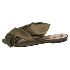 N21 Green Satin Knot Flat Mules Size 39