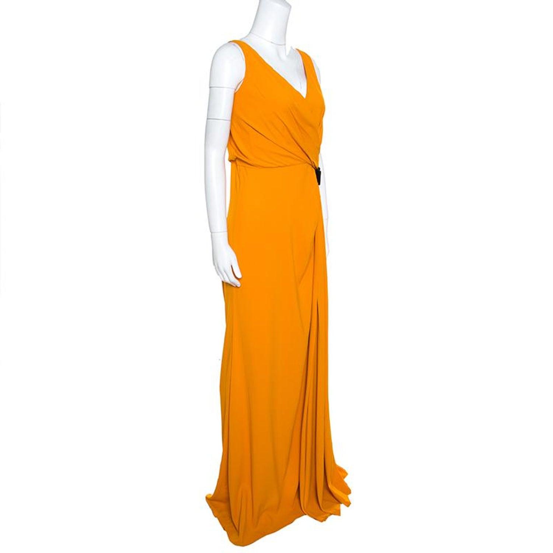 7af94cab1cc N21 Mustard Yellow Asymmetric Pleat Detail Lace Trim Maxi Dress L