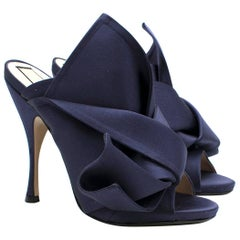 N°21 Navy Satin Bow Mules SIZE 39