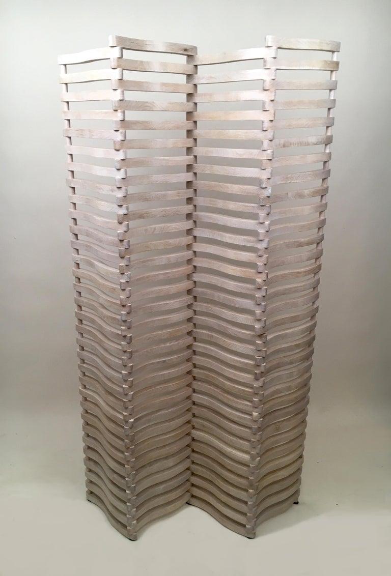 American N4 Folding Screen in Bleached Oak For Sale