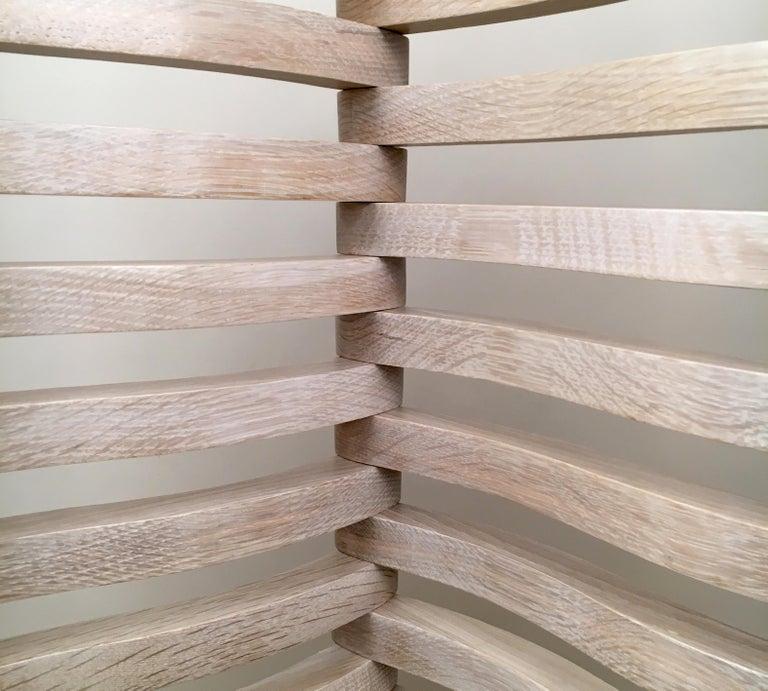 Carved N4 Folding Screen in Bleached Oak For Sale