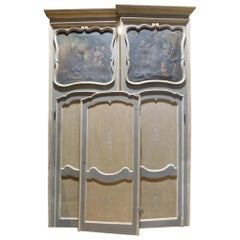 n.6 Antiques Lacquered Doors with Painted Overdoor, Blue Beige Paint, Italy 1700