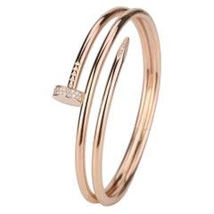 N6708400 Cartier Juste Un Clou Diamond Bracelet Rose Gold Size 19