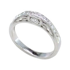 Na Hoku Channel Set Wedding Band 18 Karat White Gold Round Diamonds