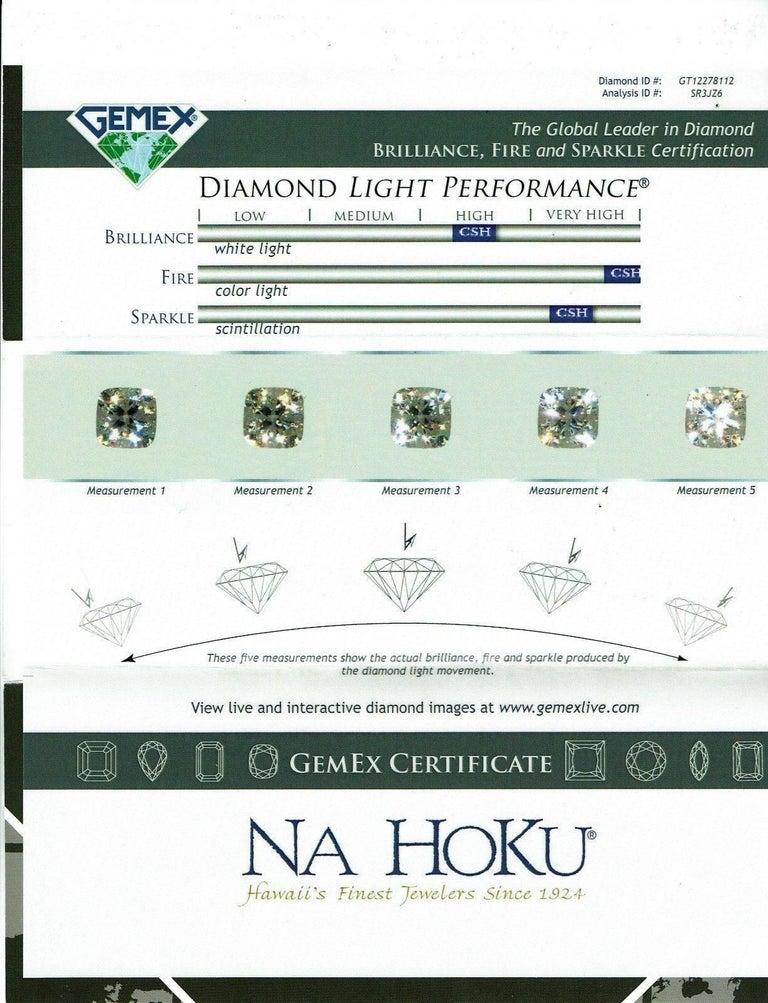 Na Hoku Cushion Cut Diamond Engagement Ring 1.97 Carat F VVS1 18 Karat Gold For Sale 7