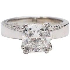 Na Hoku Cushion Cut Diamond Engagement Ring 1.97 Carat F VVS1 18 Karat Gold
