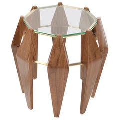 Na Pali Medium Side Table, Walnut Brass, InsidherLand by Joana Santos Barbosa