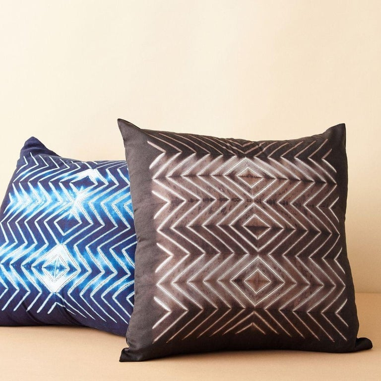 Custom design by Studio Variously, NAAMI Black pillow is handmade by master artisans in India. A sustainable design brand based out of Michigan, Studio Variously exclusively collaborates with artisan communities to restore and revive ancient