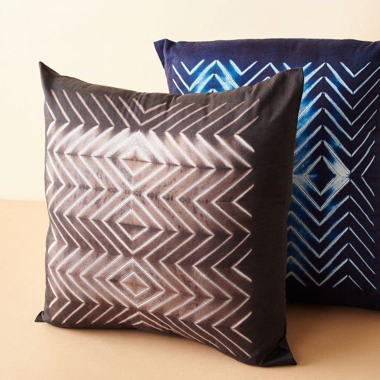 Modern NAAMI Black Shibori Silk Pillow For Sale