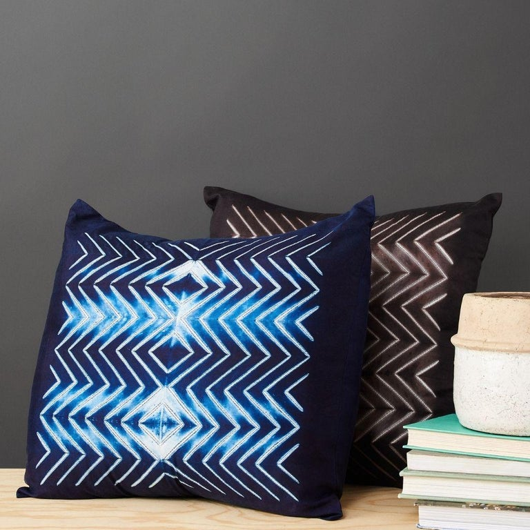 Custom designed by Studio Variously, NAAMI Indigo Pillow is handmade by master artisans in India. A sustainable design brand based out of Michigan, Studio Variously exclusively collaborates with artisan communities to restore and revive ancient