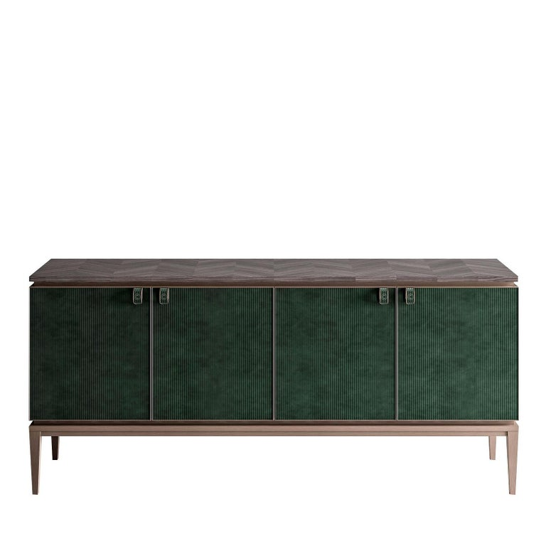 Nabuk Leather Sideboard In New Condition For Sale In Milan, IT