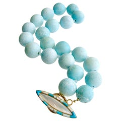 Naco Turquoise Choker Necklace Mother of Pearl Opal Inlay Toggle, Charlene III