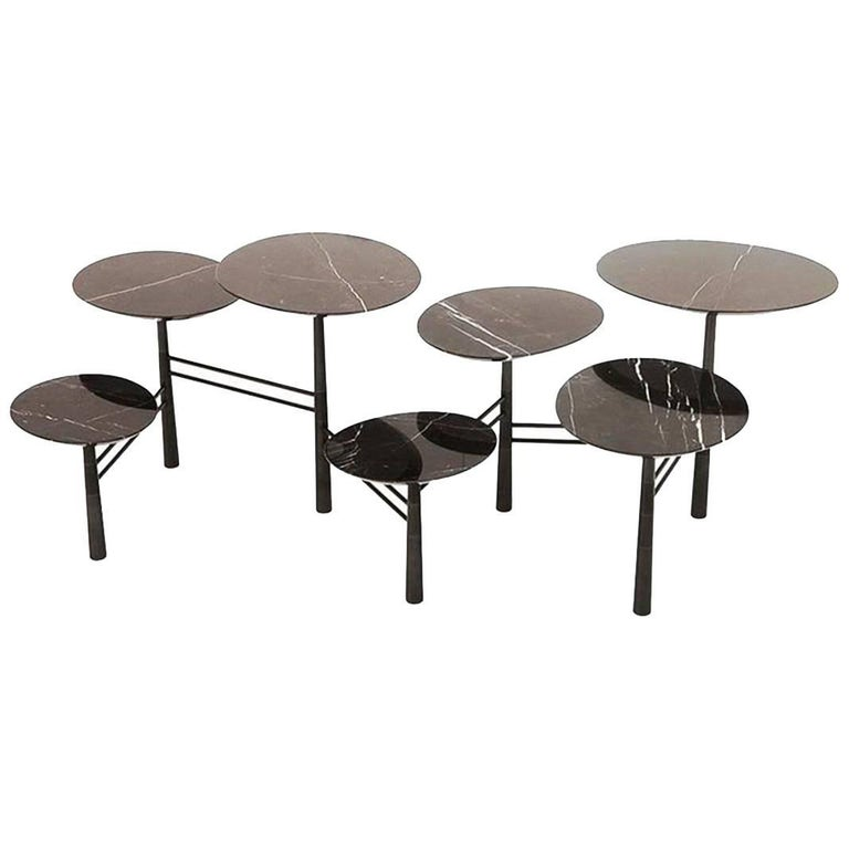 Nada Debs Modern Pebble Low Coffee Table, Black Marble, Blackened Steel Base