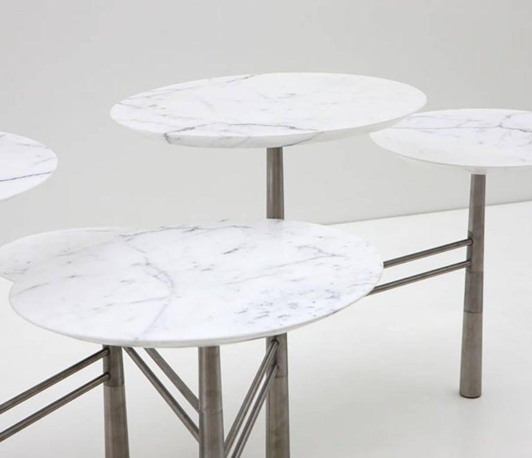 Nada Debs Modern Pebble Coffee Table, 5 White Marble Tops