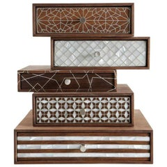 Nada Debs Patchwork Stackable Jewelry Box, Walnut with Mother-of-Pearl Inlays