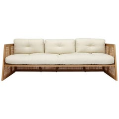 Nada Debs Summerland Terraza Sofa, Ashwood, Straw, Fabric, Midcentury Design
