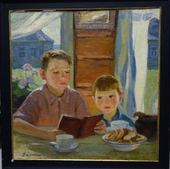 Breakfast,Children,Impressionism, book , 20th, Russian, oil  cm. 70 x 68   1958