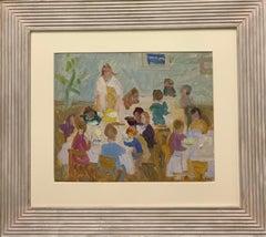 """Kindergarten, children"" Oil cm. 36 x 48 , 1960 ,shipping free"