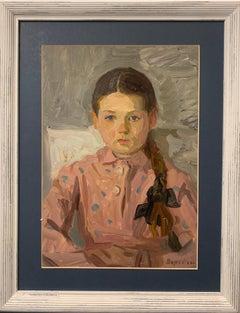 """Mascha"" Oil cm. 39 x 28 1969   Little Girl, Portrait, Rose, Russians"