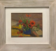 """Poppies"" Oil cm. 30 x 38 ,Flowers, red, 1960 ,shipping free"