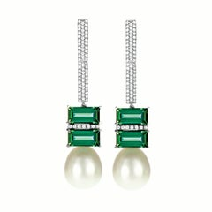 Tourmaline South Sea Pearl 18 Karat White Gold and Diamond Dangle Drop Earrings