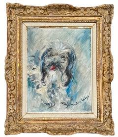 Post impressionist oil Painting  Pekingese Dog Portrait - Female Artist Ca. 1940